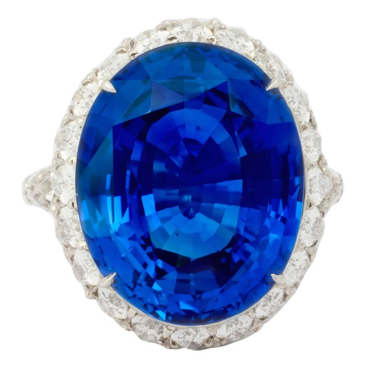 Natural No Heat Ceylon 20 Carat Sapphire Diamond Ring