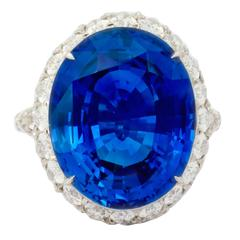 Natural Unheated Ceylon 20.13 Carat Sapphire Diamond Platinum Ring