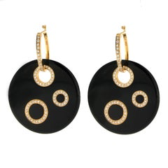 Jona Onyx Diamond Gold Dangle Earrings
