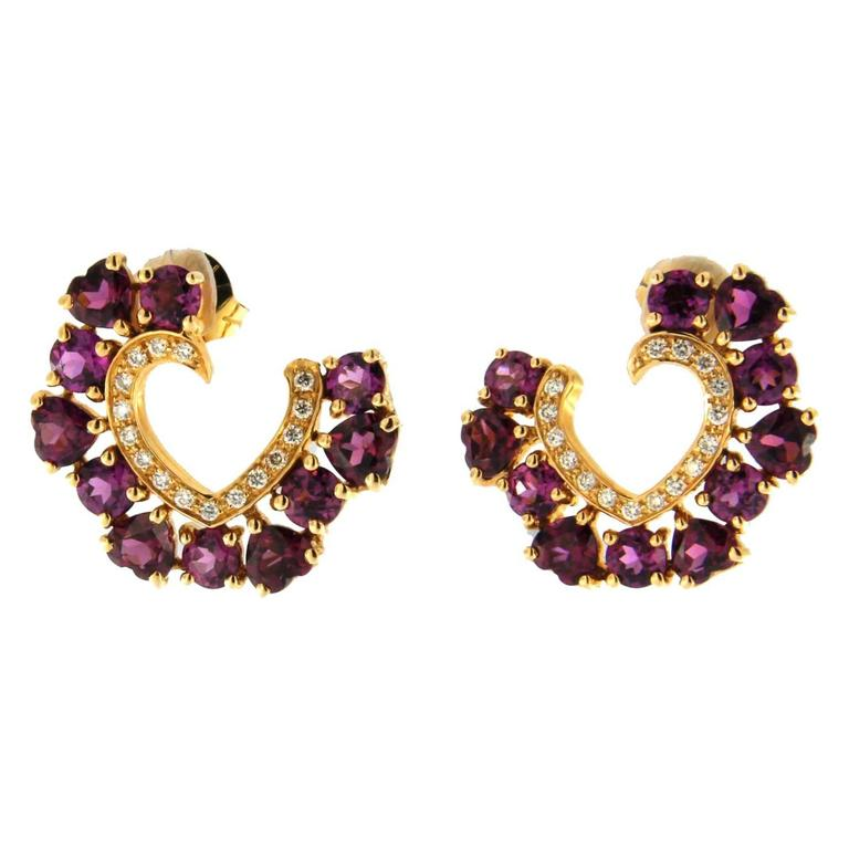 Jona Rhodolite White Diamond 18 Karat Gold Open Heart Stud Earrings For Sale