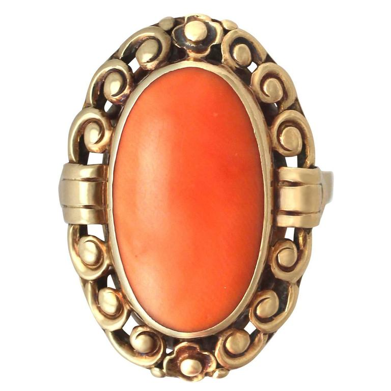 1930s Antique Coral and Yellow Gold Cocktail Ring