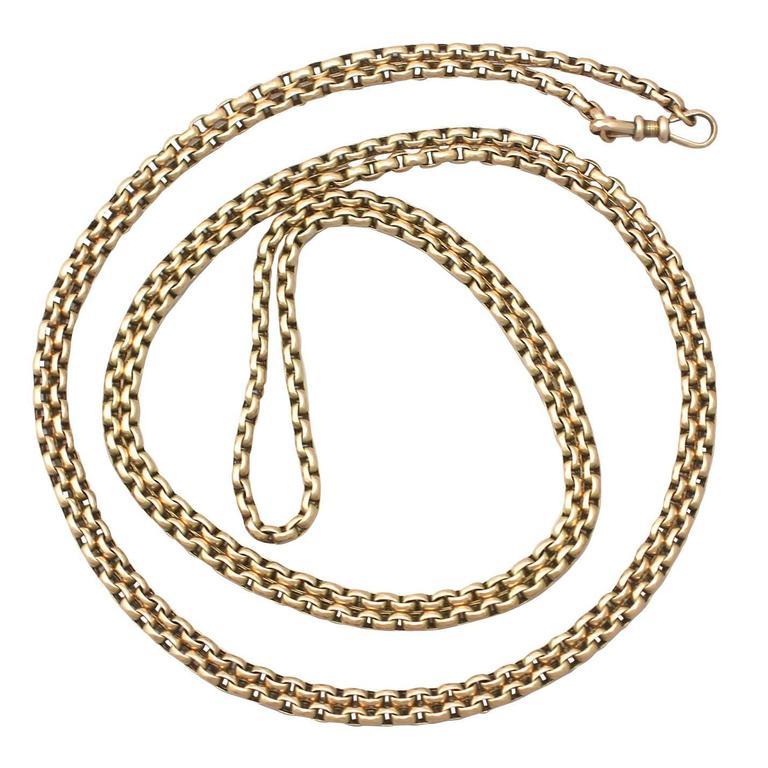 1890s Victorian Yellow Gold Longuard Chain