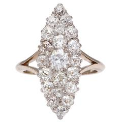 Edwardian Pave Diamond Ring in Marquise Form