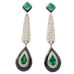 Onyx Emerald Diamond Platinum Dangle Earrings