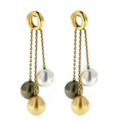 Jona South Sea Pearl 18 Karat Yellow Gold Dangle Earrings