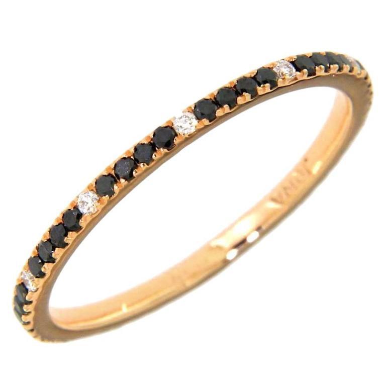 Jona Black and White Diamond 18 Karat Rose Gold Eternity Band Ring For Sale