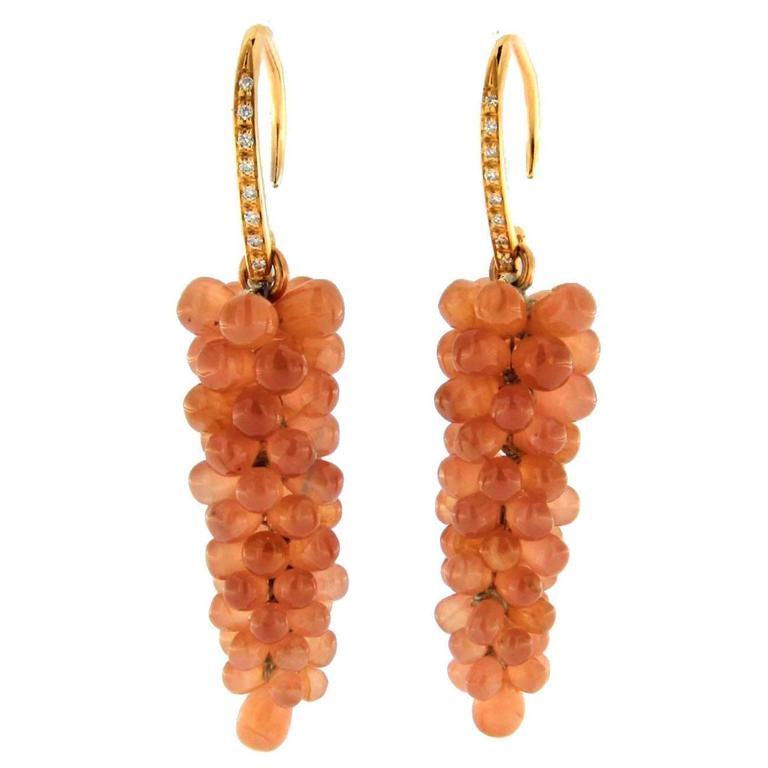 Jona Rhodochrosite Cluster White Diamond 18k Rose Gold Pendant Earrings