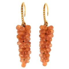 Jona Rhodochrosite Cluster White Diamond 18k Rose Gold Pendant Earrings