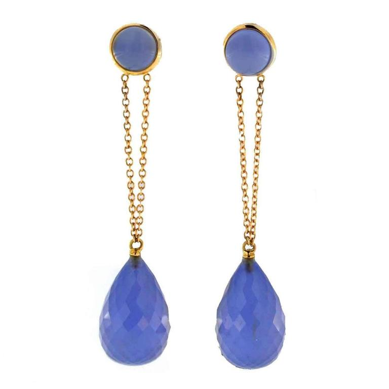 Jona Namibia Chalcedony 18 Karat Rose Gold Dangle Earrings For Sale