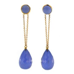 Jona Namibia Chalcedony 18 Karat Rose Gold Dangle Earrings