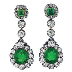 Victorian GIA Certified Colombian Emerald Diamond Earrings