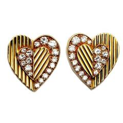 Cartier Diamond Gold Heart Earrings