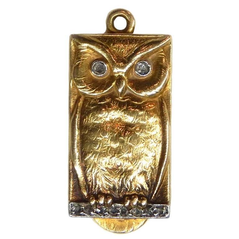 Art Nouveau Diamond Gold Platinum Owl Locket