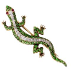 Bailey Banks & Biddle Garnet Ruby Diamond Gold Lizard Brooch