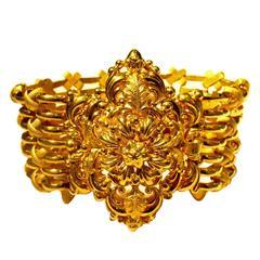 Antique French 18K Gold Cuff Bracelet, c1800bv