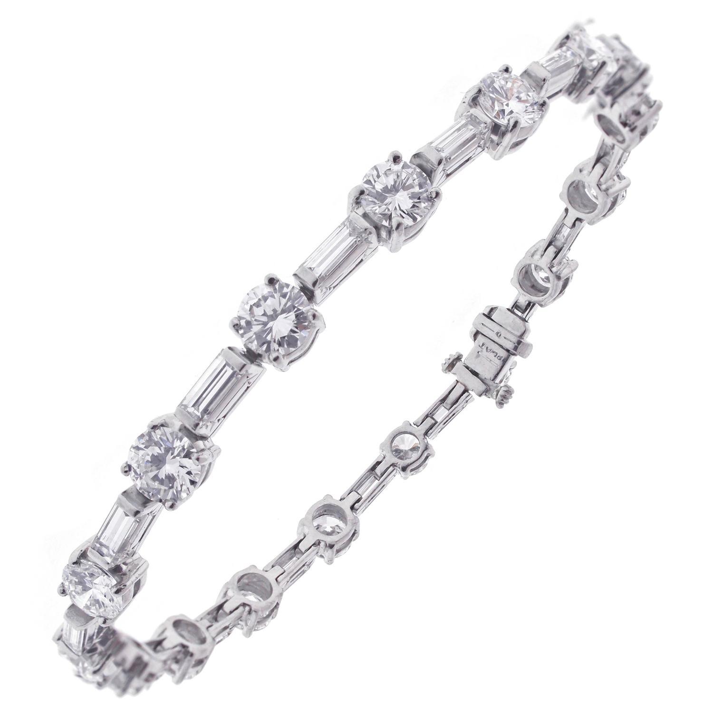 diamond platinum straight line tennis bracelet for sale at