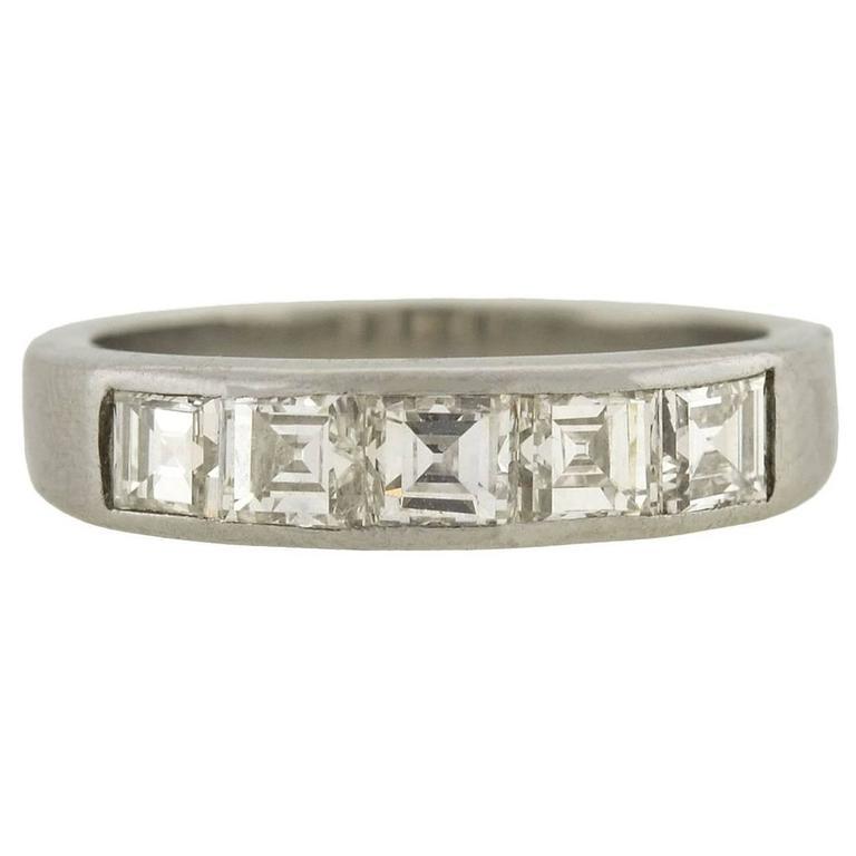 1960s Diamond Platinum Square Cut Half Band Ring