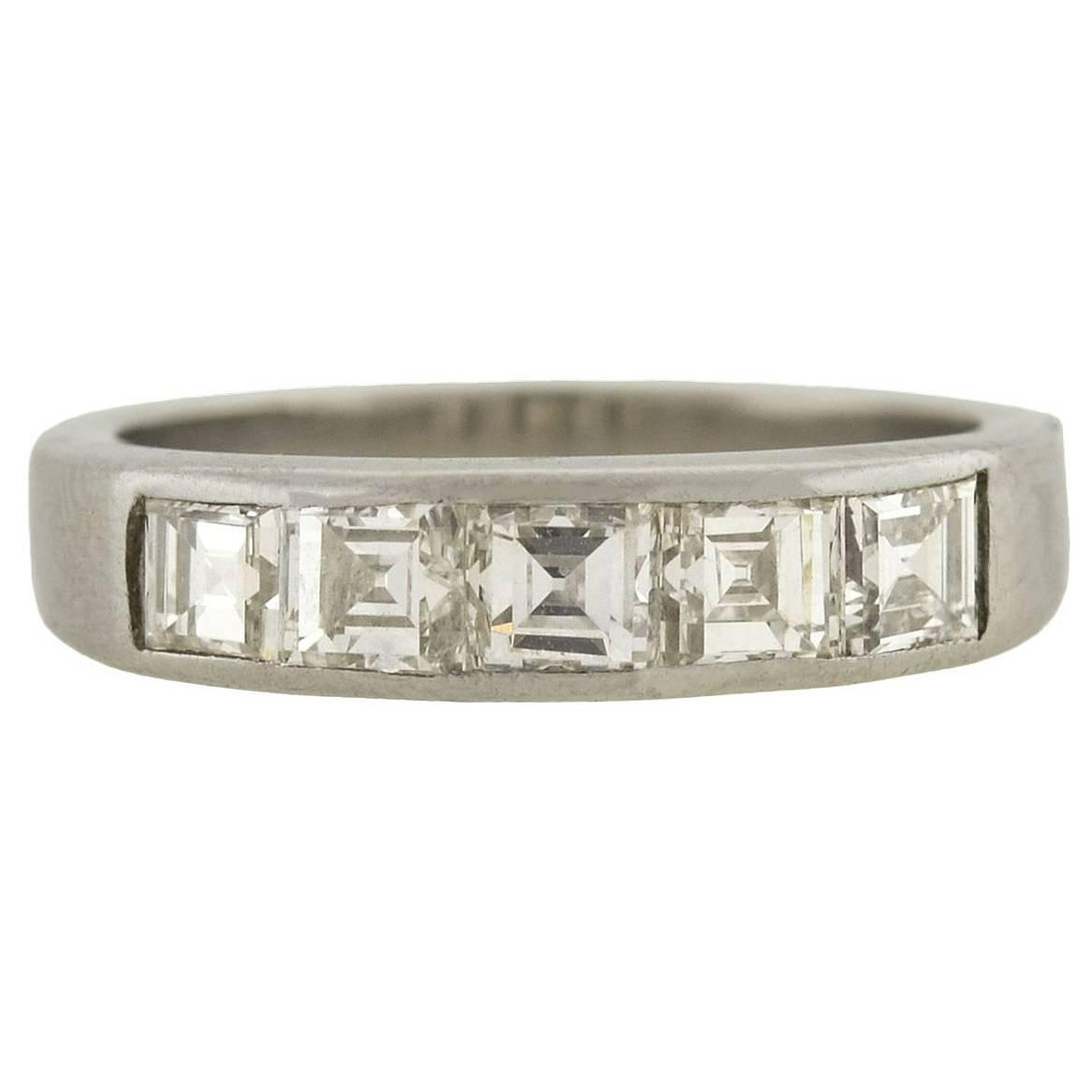1960s Diamond Platinum Square Cut Half Band Ring For Sale at 1stdibs