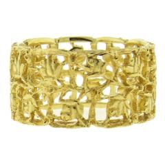 Buccellati Gold Floral Wide Wedding Band Ring