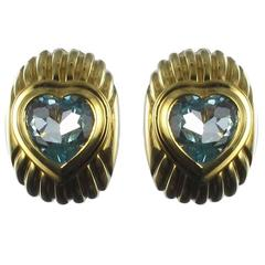 Fred Heart Topaz Gold Stud Earrings