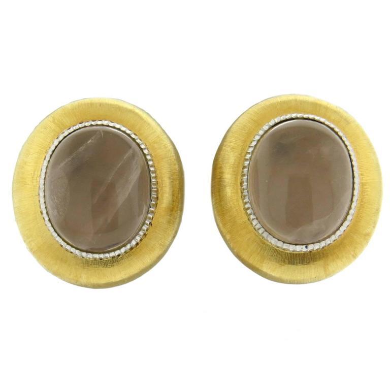 Buccellati Large Rose Quartz Gold Earrings