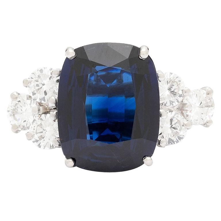 ring cushion newburysonline gold white ladies diamond blue engagement cut sapphire