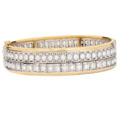 1950s Old European Cut Diamond Gold Platinum Bangle Bracelet