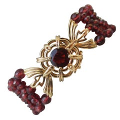 Marina J. Woven Multi-Strand Faceted Garnet Beaded Bracelet & 14K Yellow Gold