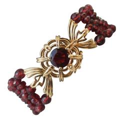 Woven Multi-Strand Faceted Red Garnet Beaded Bracelet and 14k Yellow Gold