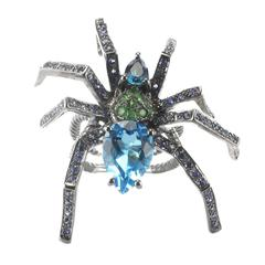 New Topaz Garnet Sapphire Blacked Silver Spider Ring