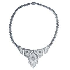 "Buccellati Diamond and White Gold ""Tulle"" Necklace"