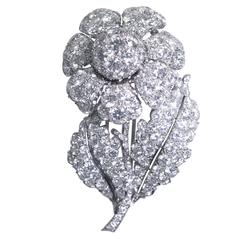 1950s Diamond Platinum Flower Brooch