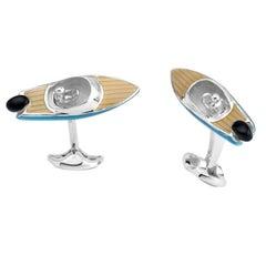 Deakin & Francis Silver Speed Boat Cufflinks