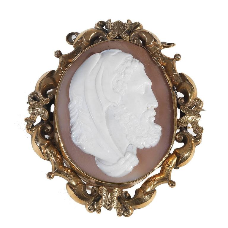 Large Antique Cameo Shell Gold Hercules Brooch Pendant