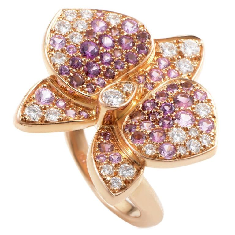 eec7c7355c6e8 Cartier Caresse d'Orchidées Par Cartier Gemstone Diamond Gold Ring