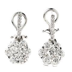 Stambolian Diamond Gold Cluster Drop Earrings