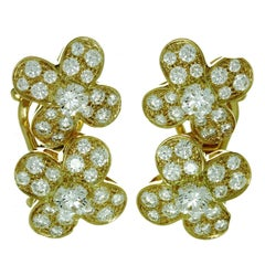 Van Cleef & Arpels Trefle Diamond Gold Flower Earrings