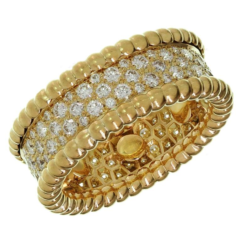 Van Cleef & Arpels Perlée Diamond Gold Band Ring
