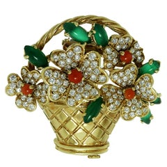Van Cleef & Arpels Rare Coral Diamond Chalcedony Gold Bouquet Brooch