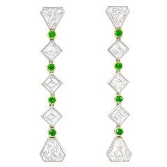 Black Starr & Frost Art Deco Demantoid Garnet Diamond Gold Platinum Earrings