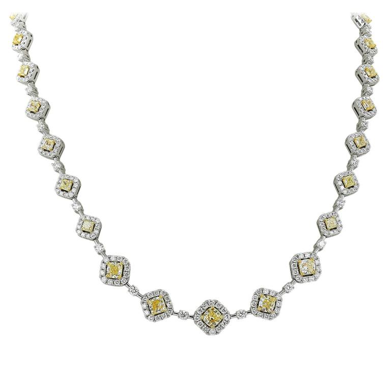 Colorless and Canary Diamond Two Color Gold Necklace