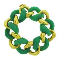 1970s Seaman Schepps Aventurine Gold Curb Link Bracelet