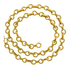 1980s Bulgari Gold Heavy Link Chain Necklace