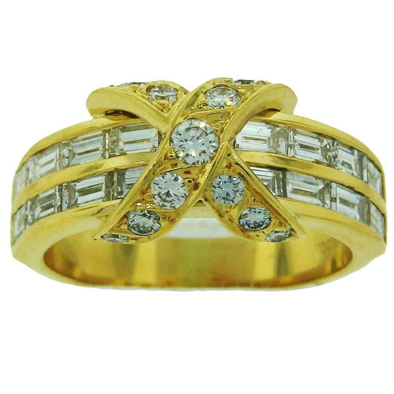 Tiffany & Co. Diamond Gold X Band Ring 1