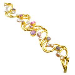 Hans Hansen Sapphire Pearl Gold Bracelet