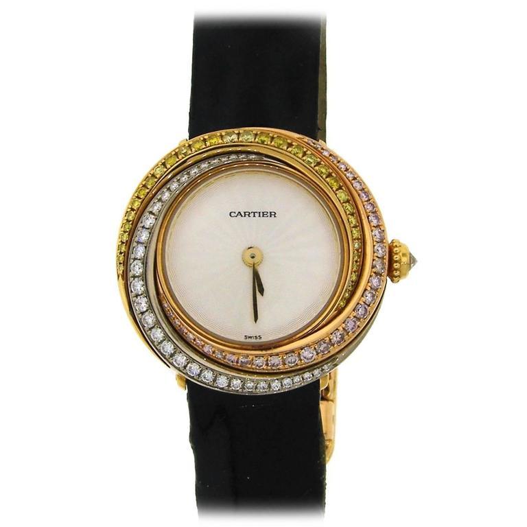 Cartier Lady's Three Color Gold Diamond Trinity Quartz Wristwatch