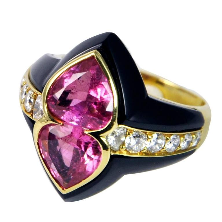 Onyx and Pink Tourmaline Gold Dome Ring