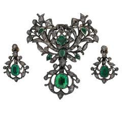 1740s Rare Georgian Emerald Diamond Silver Suite