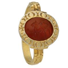 Medieval Carnelian Intaglio Gold Lion Ring