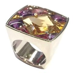 "Chanel Amethyst Citrine Tourmaline Gold ""Matelasse"" Ring"